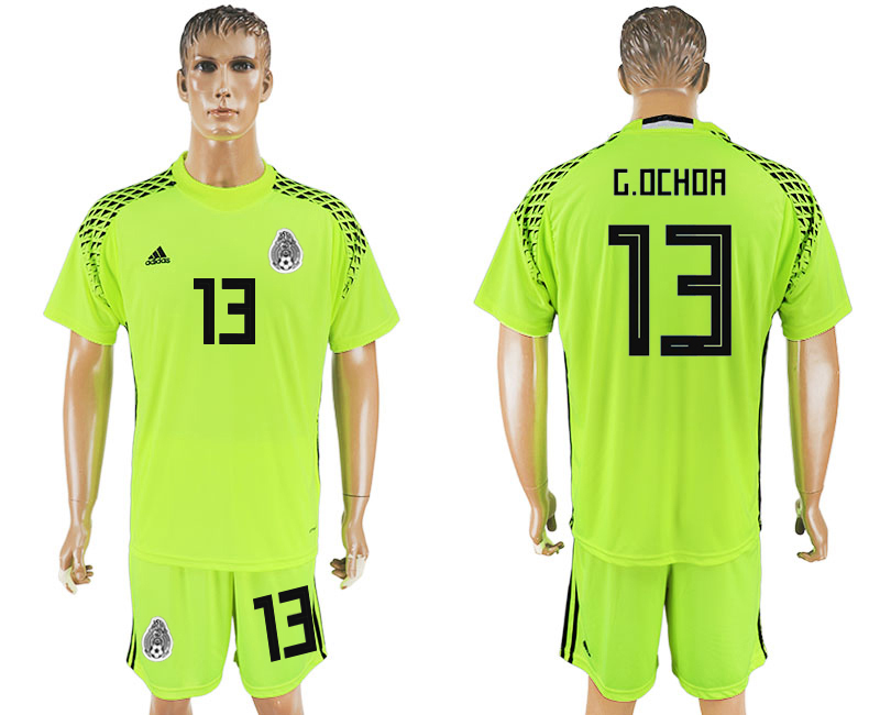 Men 2018 World Cup National Mexico fluorescent green goalkeeper 13 soccer jersey