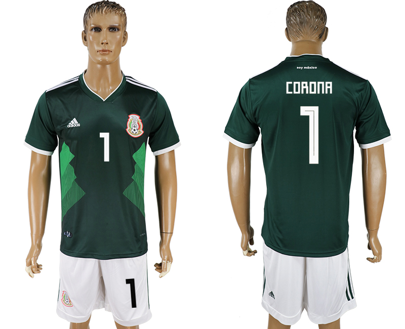 Men 2018 World Cup National Mexico home 1 green soccer jersey