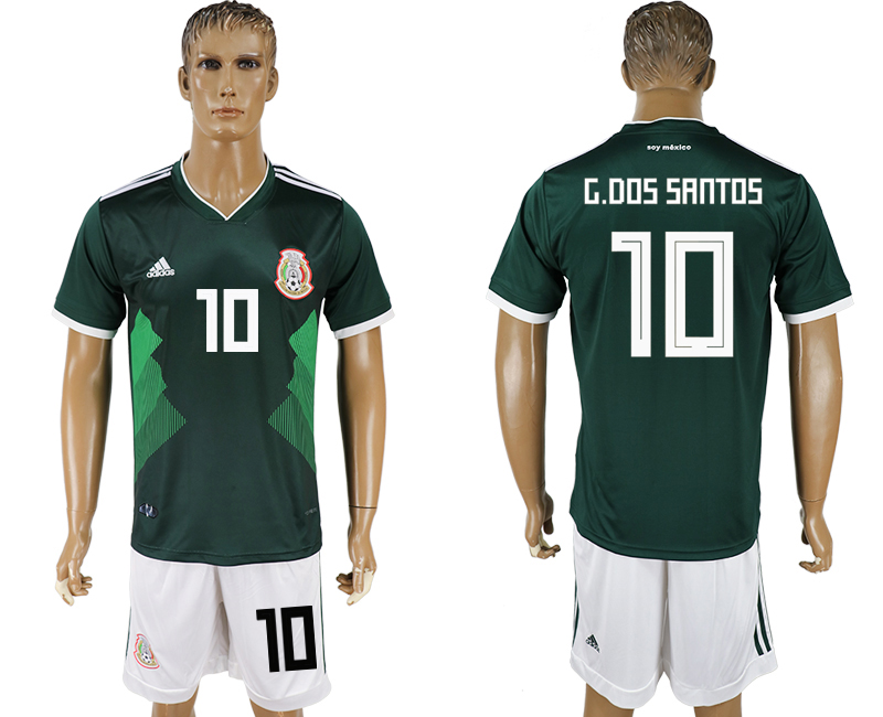 Men 2018 World Cup National Mexico home 10 green soccer jersey