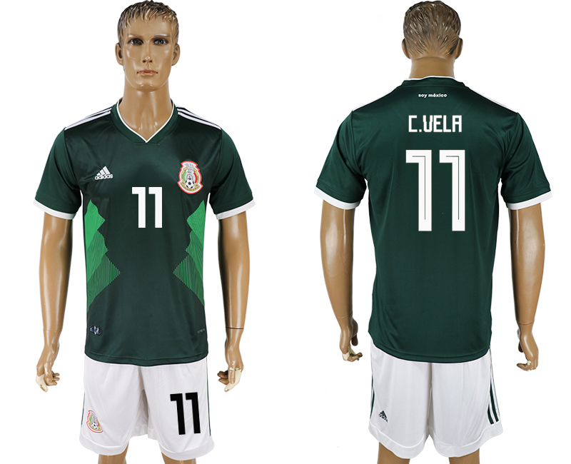 Men 2018 World Cup National Mexico home 11 green soccer jersey