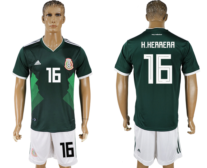 Men 2018 World Cup National Mexico home 16 green soccer jersey
