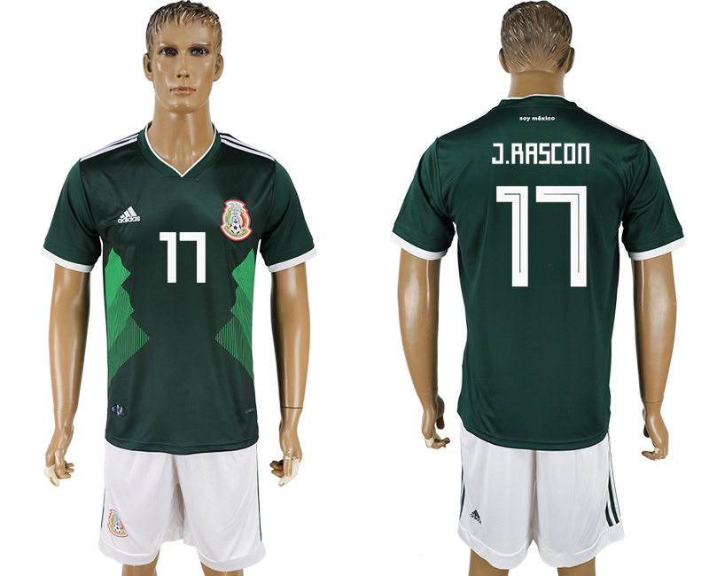 Men 2018 World Cup National Mexico home 17 green soccer jersey