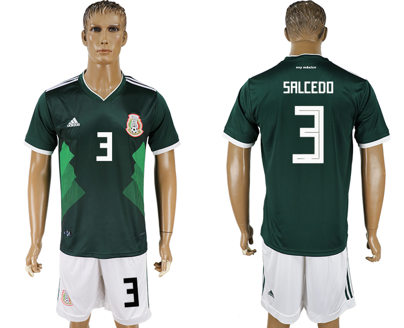 Men 2018 World Cup National Mexico home 3 green soccer jersey