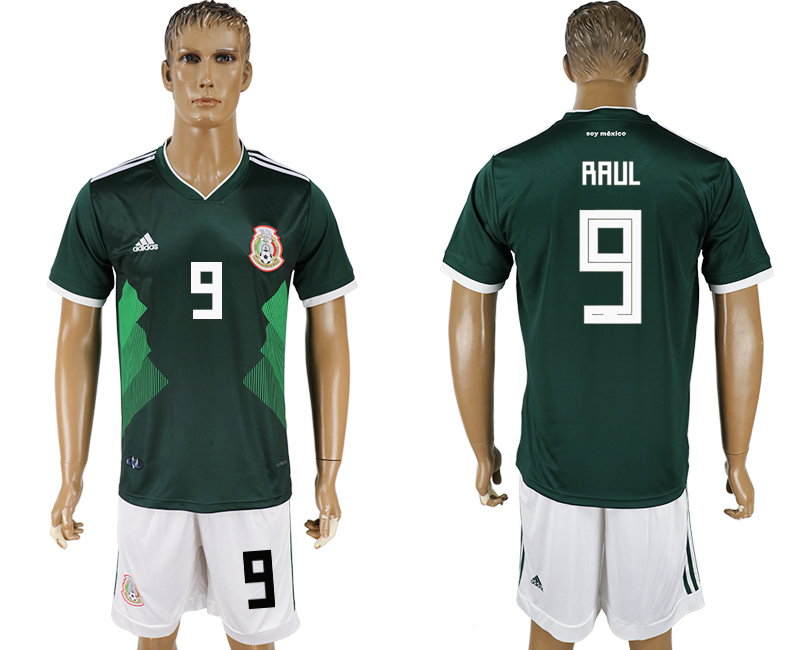 Men 2018 World Cup National Mexico home 9 green soccer jersey