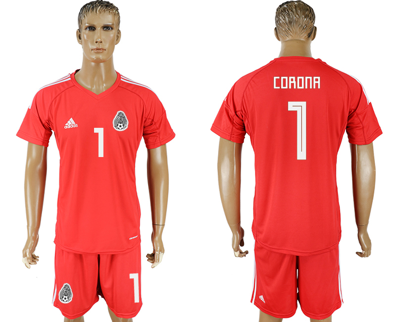 Men 2018 World Cup National Mexico red goalkeeper 1 soccer jersey