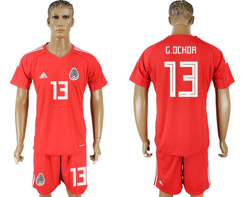 Men 2018 World Cup National Mexico red goalkeeper 13 soccer jersey