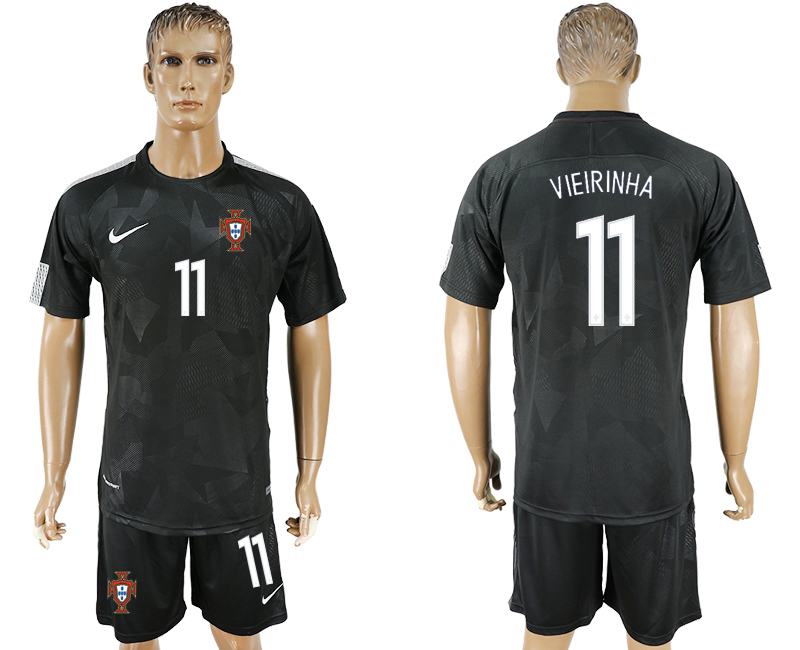 Men 2018 World Cup National Portuga away 11 black soccer jersey