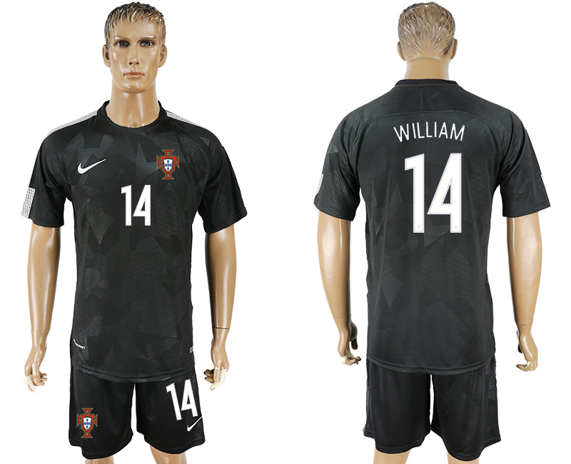 Men 2018 World Cup National Portuga away 14 black soccer jersey