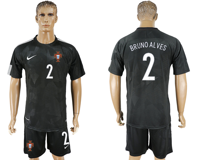 Men 2018 World Cup National Portuga away 2 black soccer jersey