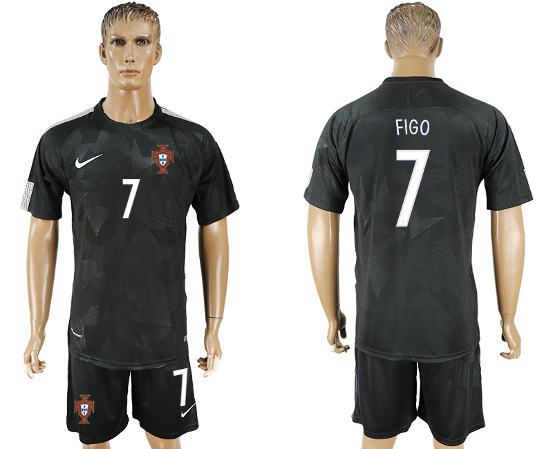 Men 2018 World Cup National Portuga away 7 black soccer jersey