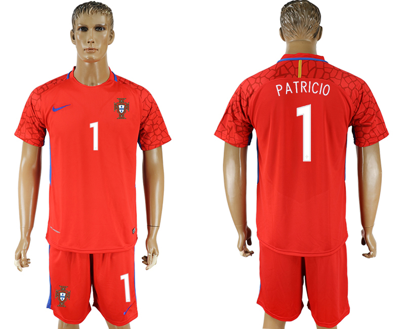 Men 2018 World Cup National Portugal red goalkeeper 1 soccer jersey