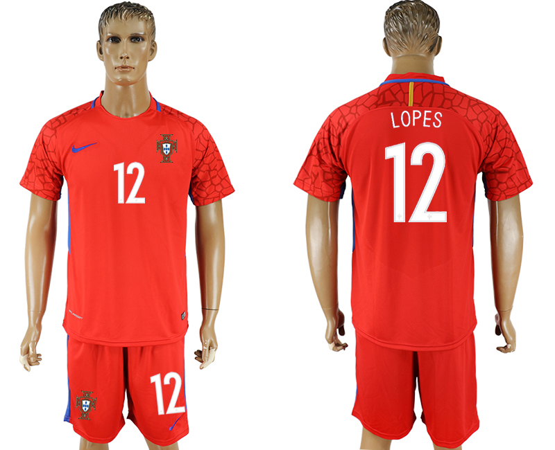 Men 2018 World Cup National Portugal red goalkeeper 12 soccer jersey