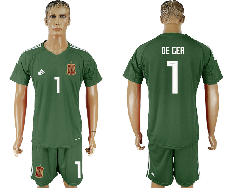 Men 2018 World Cup National Spain Military green goalkeeper 1 soccer jersey