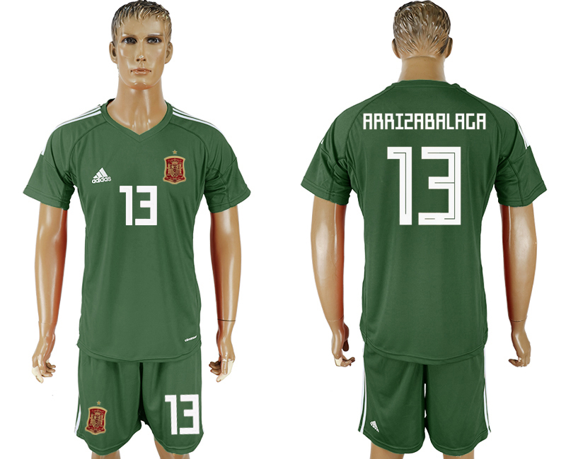 Men 2018 World Cup National Spain Military green goalkeeper 13 soccer jersey