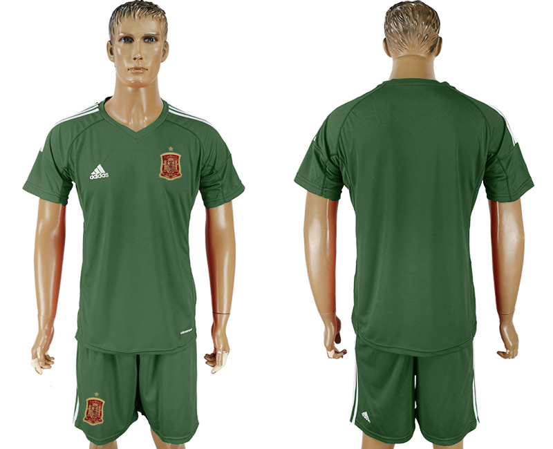 Men 2018 World Cup National Spain Military green goalkeeper soccer jersey