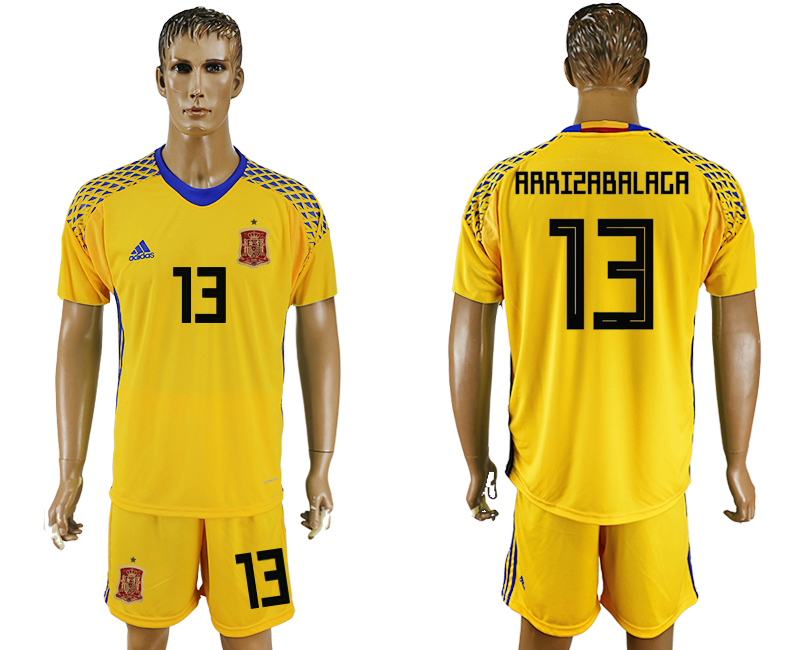 Men 2018 World Cup National Spain Yellow goalkeeper 13 soccer jersey