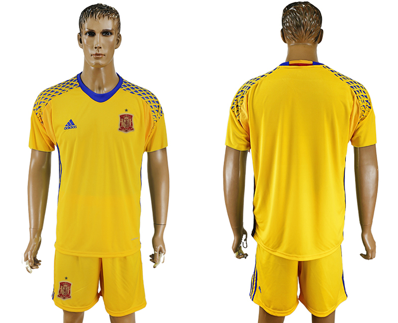 Men 2018 World Cup National Spain Yellow goalkeeper soccer jersey