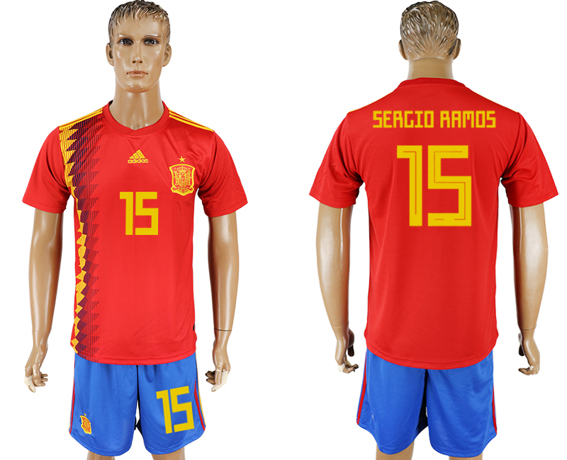 Men 2018 World Cup National Spain home 15 red soccer jersey