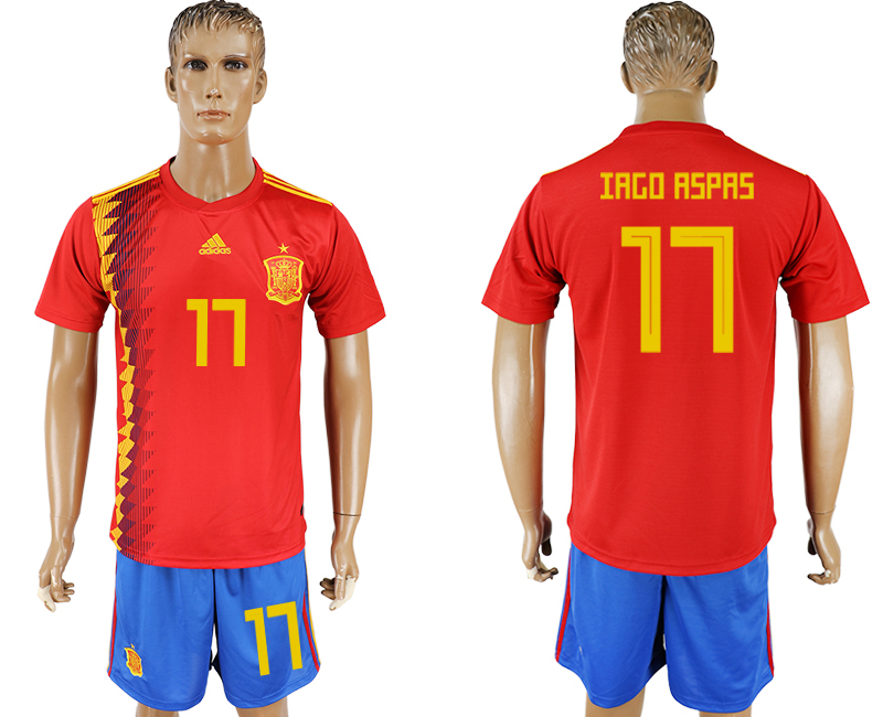 Men 2018 World Cup National Spain home 17 red soccer jersey