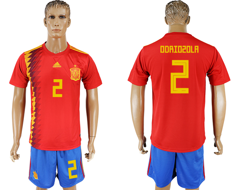 Men 2018 World Cup National Spain home 2 red soccer jersey