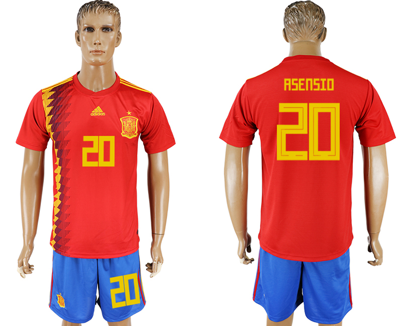 Hommes 2018 Coupe du Monde National Espagne accueil 20 rouge football maillot
