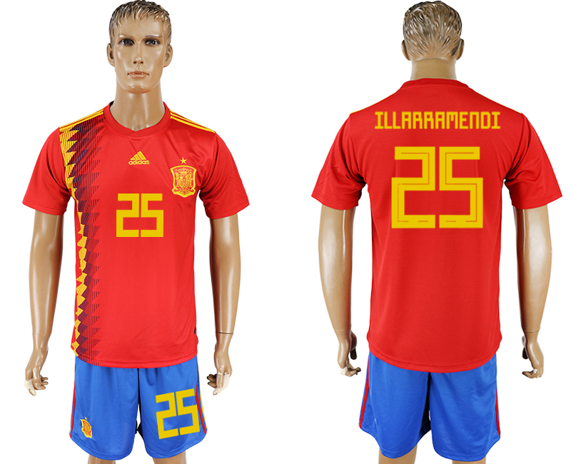 Men 2018 World Cup National Spain home 25 red soccer jersey1