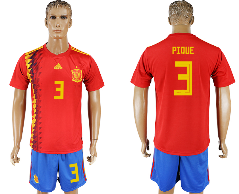 Men 2018 World Cup National Spain home 3 red soccer jersey