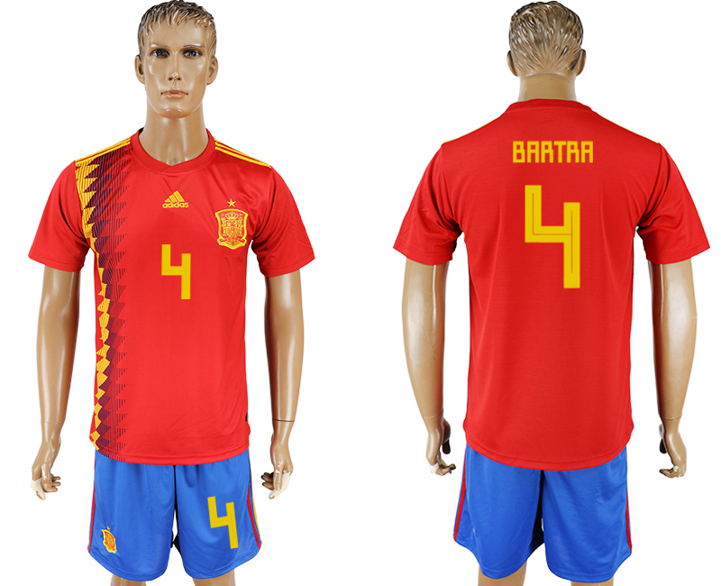 Men 2018 World Cup National Spain home 4 red soccer jersey