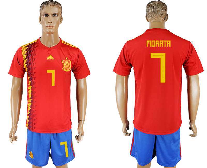 Men 2018 World Cup National Spain home 7 red soccer jersey