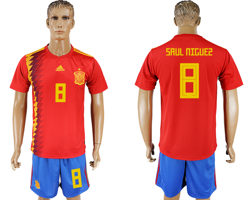 Men 2018 World Cup National Spain home 8 red soccer jersey