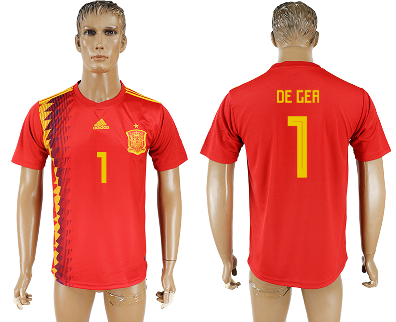 Men 2018 World Cup National Spain home aaa version 1 red soccer jersey