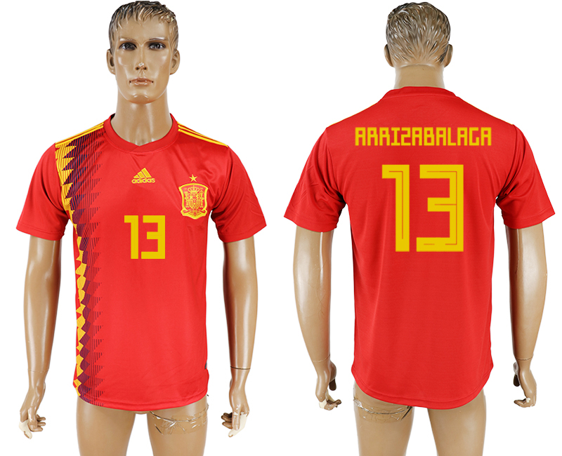Men 2018 World Cup National Spain home aaa version 13 red soccer jersey