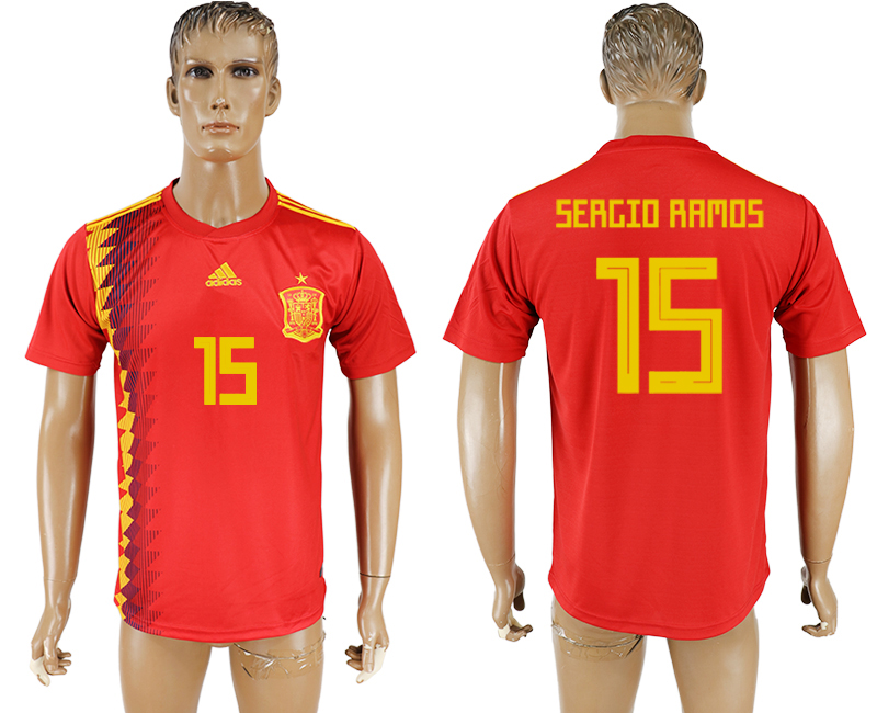 Men 2018 World Cup National Spain home aaa version 15 red soccer jersey