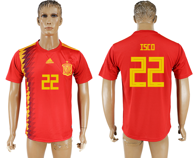 Men 2018 World Cup National Spain home aaa version 22 red soccer jersey