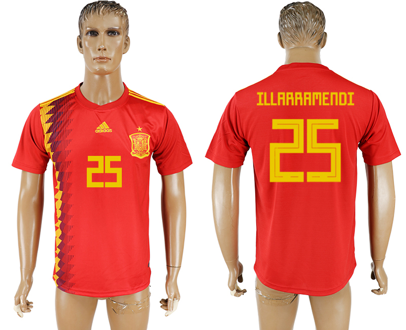 Men 2018 World Cup National Spain home aaa version 25 red soccer jersey