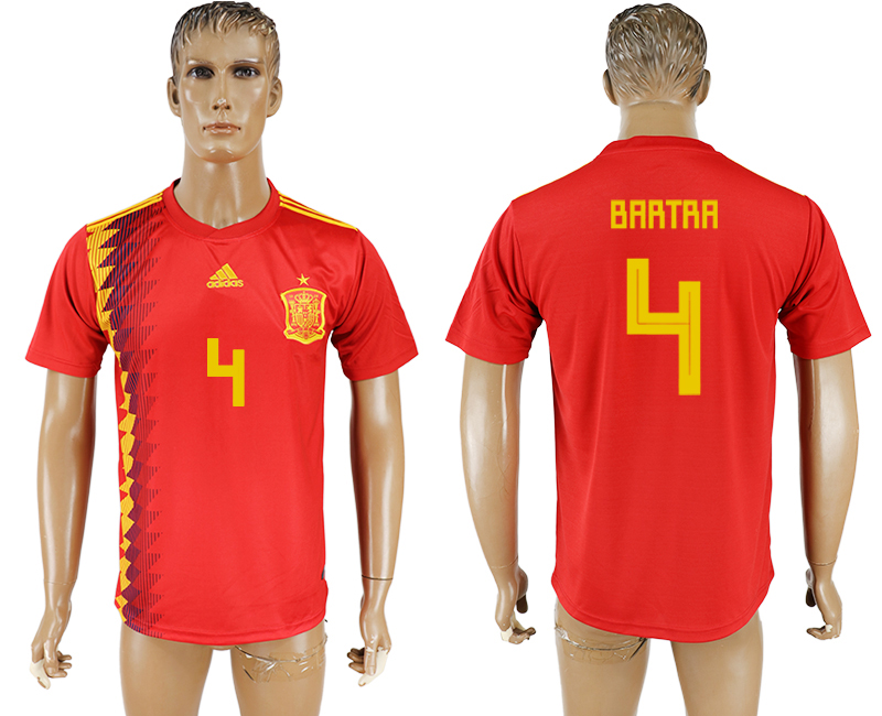 Men 2018 World Cup National Spain home aaa version 4 red soccer jersey