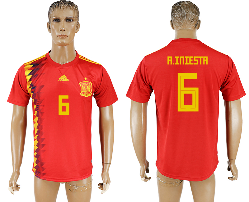 Men 2018 World Cup National Spain home aaa version 6 red soccer jersey