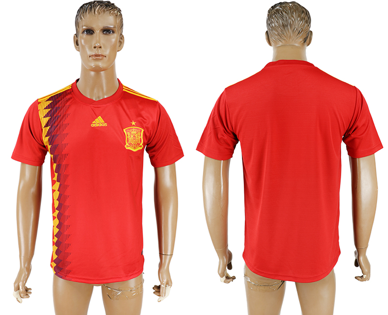 Men 2018 World Cup National Spain home aaa version blank red soccer jersey