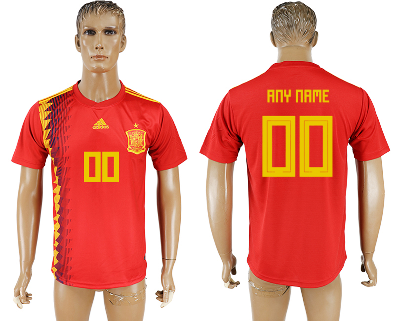 Men 2018 World Cup National Spain home aaa version customized red soccer jersey