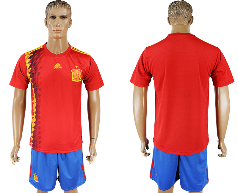Men 2018 World Cup National Spain home blank red soccer jersey