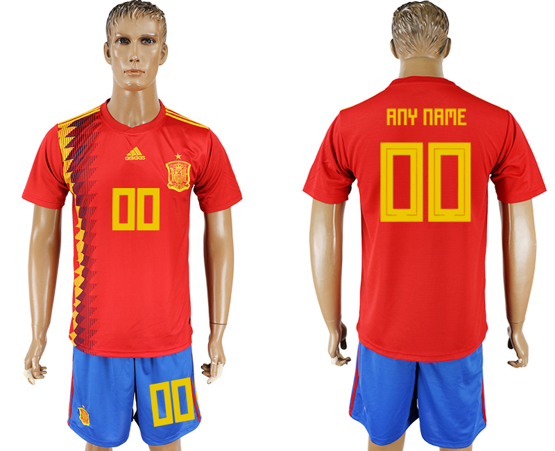 Men 2018 World Cup National Spain home customized red soccer jersey