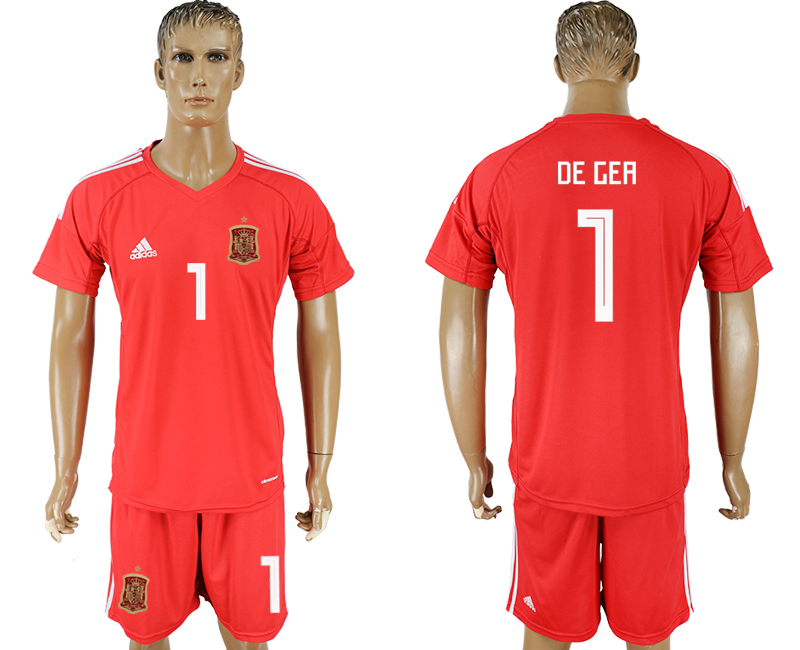 Men 2018 World Cup National Spain red goalkeeper 1 soccer jersey