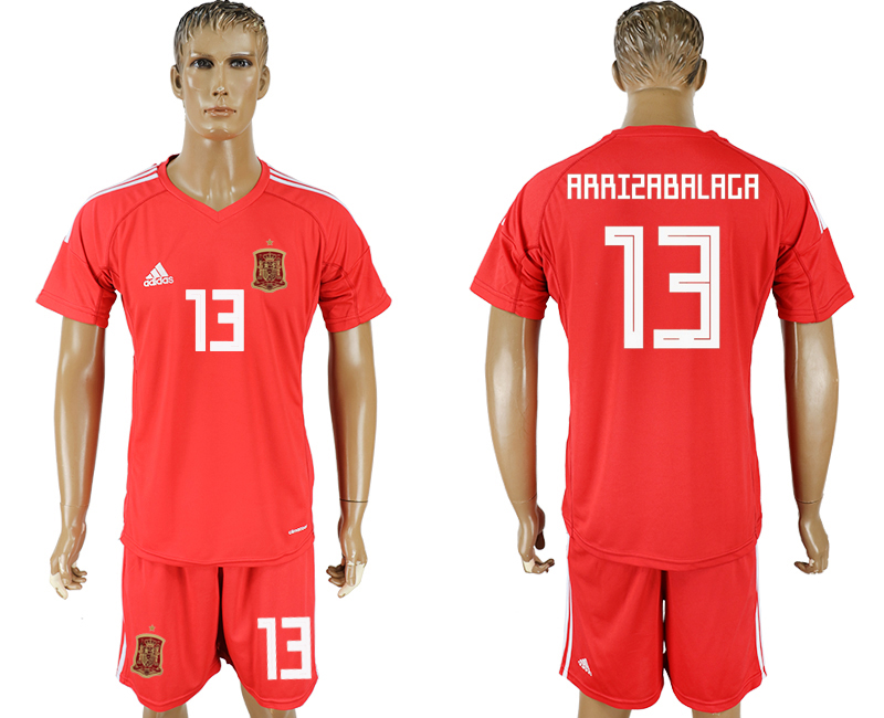 Men 2018 World Cup National Spain red goalkeeper 13 soccer jersey