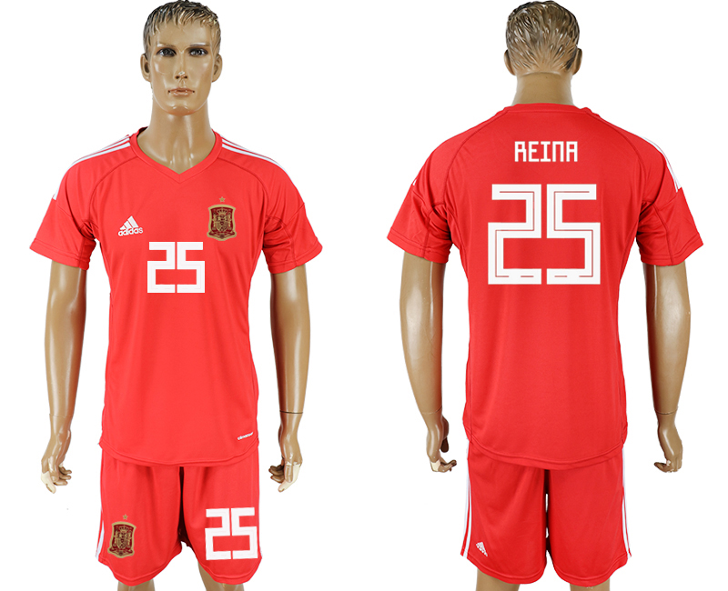 Men 2018 World Cup National Spain red goalkeeper 25 soccer jersey