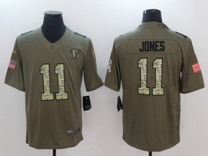 Men Atlanta Falcons 11 Jones Camo Nike Olive Salute To Service Limited NFL Jerseys