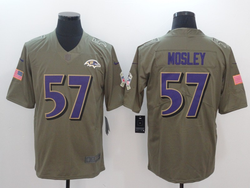Men Baltimore Ravens 57 Mosley Nike Olive Salute To Service Limited NFL Jerseys