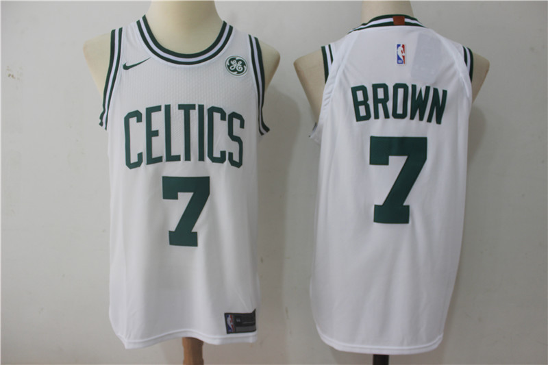 Men Boston Celtics 7 Brown White NBA Jerseys
