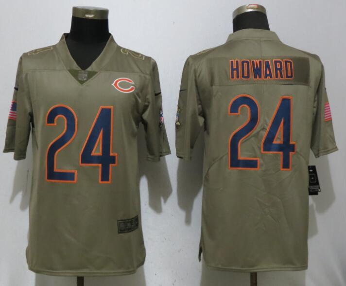 Men Chicago Bears 24 Howard Nike Olive Salute To Service Limited NFL Jerseys
