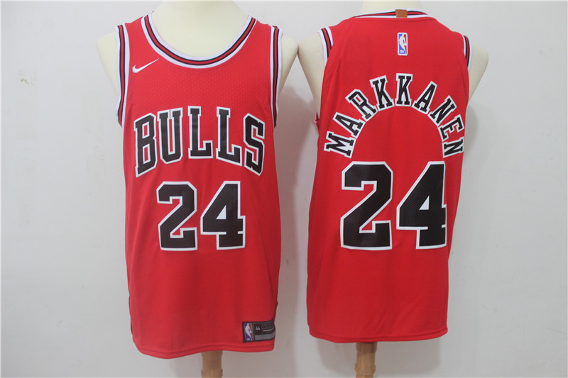 Men Chicago Bulls 24 Markkanen Red Game Nike NBA Jerseys