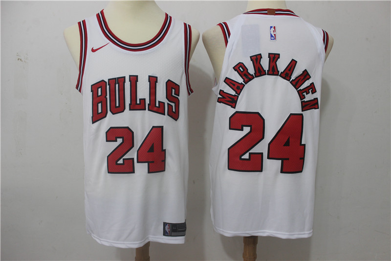Men Chicago Bulls 24 Markkanen White Game Nike NBA Jerseys